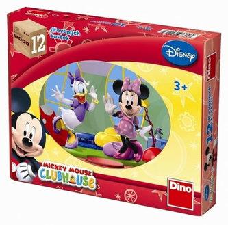 Dřevěné kostky 12 ks - Mickeyho klubík - Walt Disney