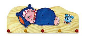 Věšák spící medvěd - 5 háčků - natur - neuveden