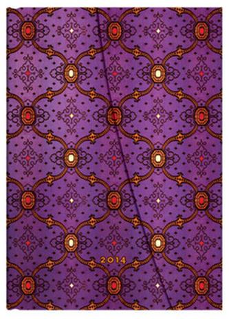 Diář 2014 - French Ornate Violet midi (12-měsíční Day-at-a-Time)