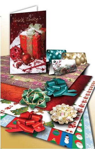 Velká vánoční sada balicích papírů a doplňků