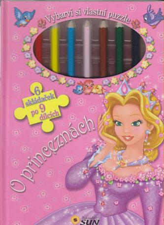 O princeznách - Vybarvi si vlastní puzzle (6 skládaček po 9 dílcích) - Marcela Grez