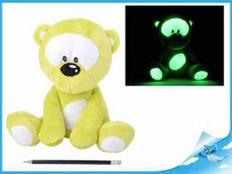 Medvídek plyšový 30cm svítící ve tmě zelený 0m+ v sáčku