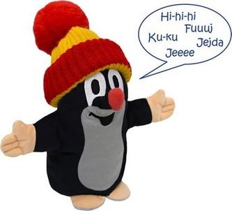 Krtek maňásek mluvící - červený kulich - Miler Zdeněk