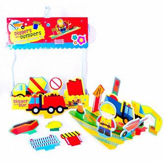 Pěnová sada hraček do vany Stavební stroje - neuveden
