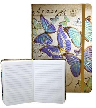 Zápisník s gumičkou 95x140 mm zlatý s motýli A
