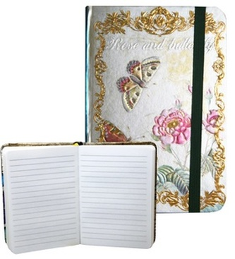 Zápisník s gumičkou 95x140 mm růže a motýli A
