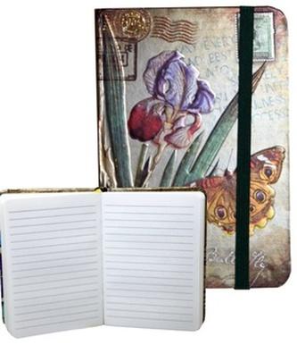 Zápisník s gumičkou 95x140 mm motýli na kosatcii A