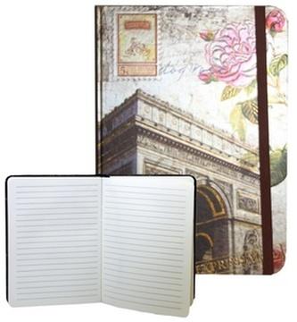 Zápisník s gumičkou 178x126 mm Paříž Vítězný oblouk F