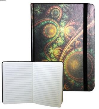 Zápisník s gumičkou 178x126 mm zelenooranžový ornament F